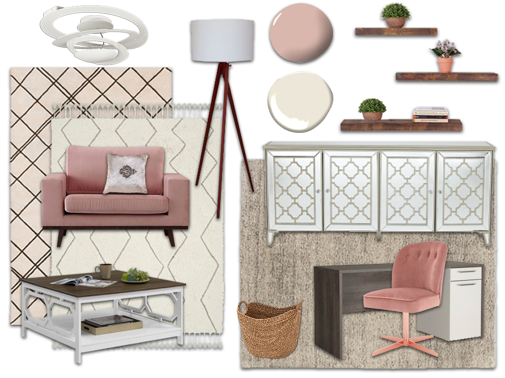 Concept board of a pink and beige office