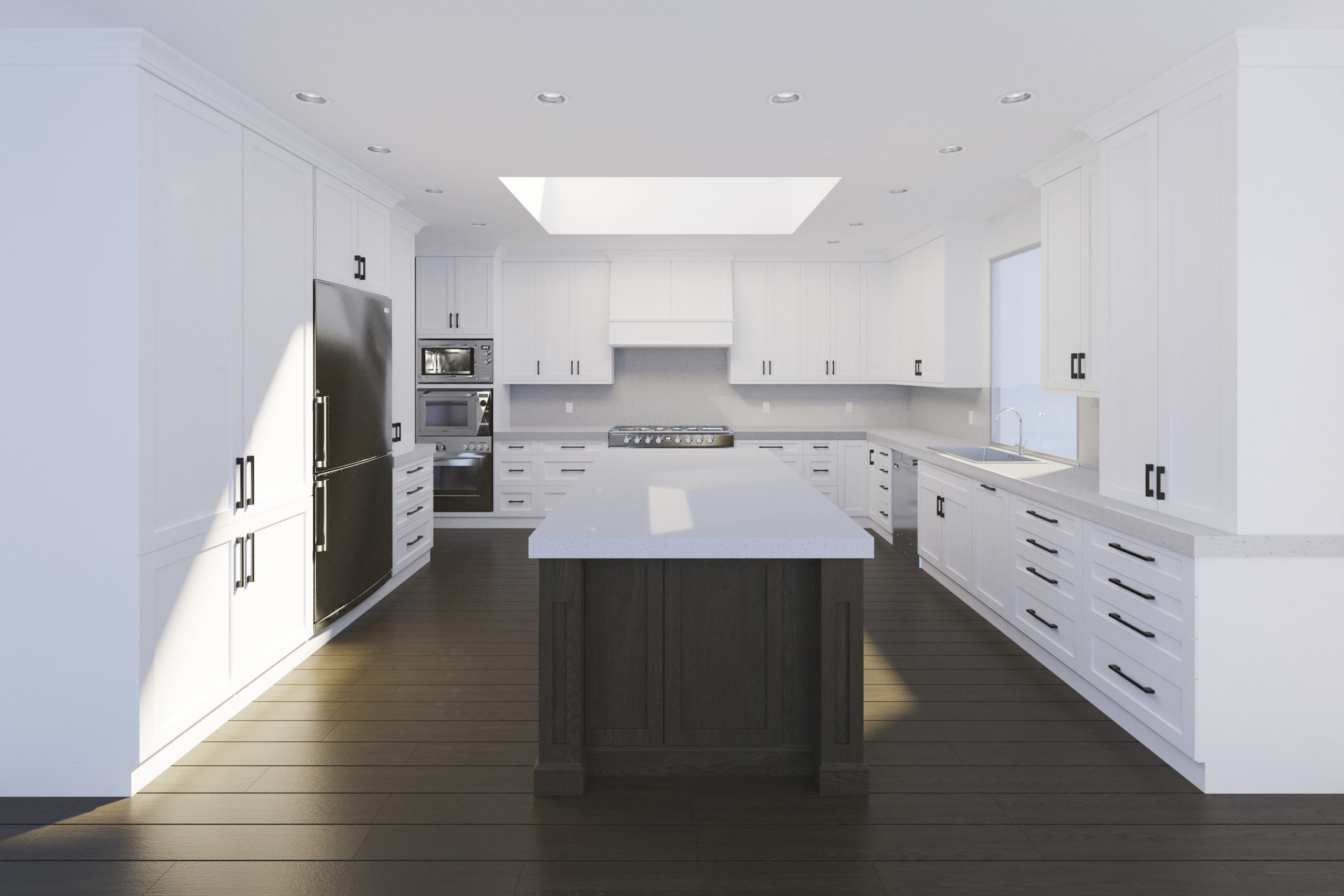 Kitchen rendered from floor plan and elevation drawings